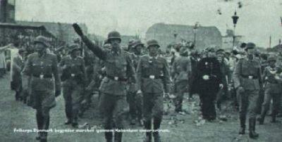 Freikorps při přehlídce v ulicích Kodaně