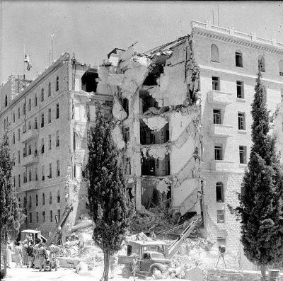 Jedna z mnoha fotografií následků útoku Irgunu na Hotel krále Davida