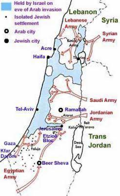 Tato mapka ukazuje, jak se arabské armády opřely do svého protivníka, nového státu Izrael.