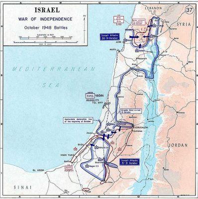 Tato mapa ukazuje základní ideu bojů, které svedla v říjnu 1948 izraelská armáda na všech frontách své první arabsko-izraelské války.
