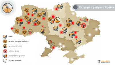 Ukrajinská revoluce - mapa situace večer 19.2.2014