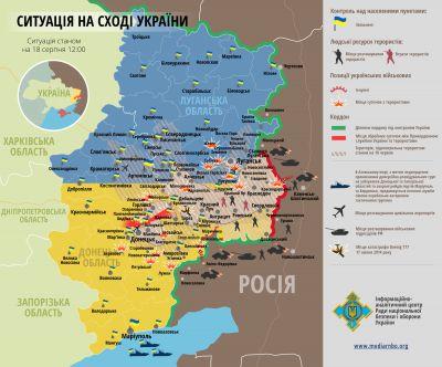 Situace na východě Ukrajiny k 18.8.2014 12:00