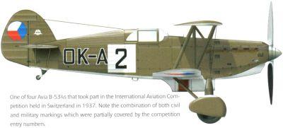 Kresba jedné z Avií B-534, které se účastnily mezinárodního leteckého meetingu v Curychu v roce 1937