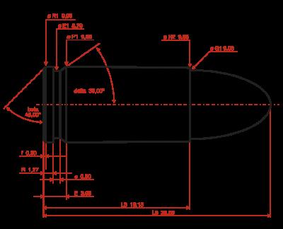 Obrázek maximální rozměry náboje 9x19 mm Parabellum dle C.I.P.