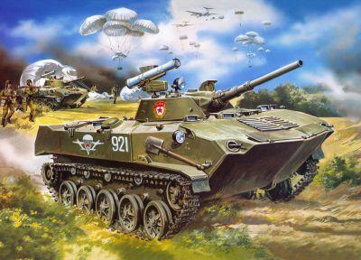 Malba zachycující útok sovětských výsadkářů s vozidly BMD-1P