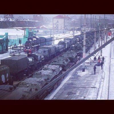 Nádraží v Sibiřském Omsku v pátek ráno (14.3.2014)