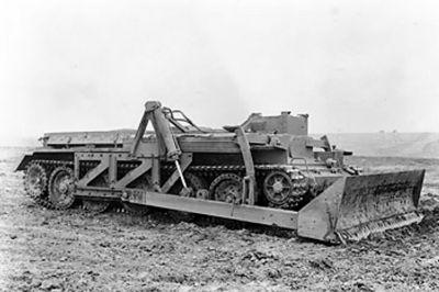 Pancéřovaný buldozer Centaur Dozer na bázi tanku