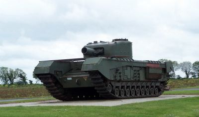 Ženijní tank Churchill AVRE s 290mm moždířem