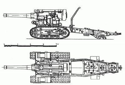 Bokorys a půdorys 203mm tažené houfnice vzor 1931