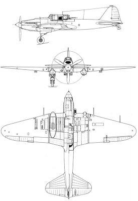 Výkres letounu Il-2M3 s mírně šípovým křídlem (tzv. KSS)
