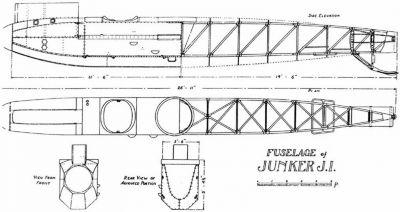 Výkres dokumentující ve své době unikátní konstrukci trupu Junkersu J.I