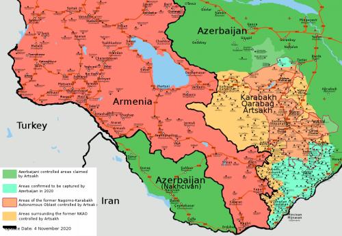 Konflikt v Náhorním Karabachu mapa k 4. listopadu 2020