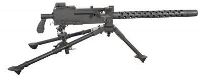 Kulomet Browning M1919A4 s připojenou schránkou pro nábojový pás