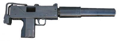 Ingram MAC-10 na náboj .45 ACP s tlumičem a bez zásobníku