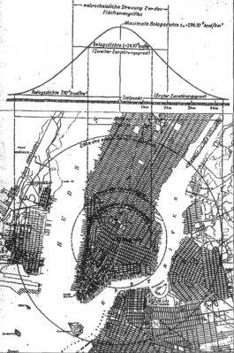 Německý dokument s kalkulací škod po bombardování New Yorku zbraní, kterou někteří autoři pokládají za atomovou pumu