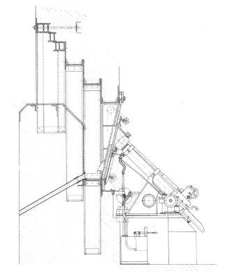 Výkres montáže 9cm minometu vz. 38 v těžkém opevnění