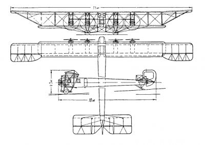 Tři pohledy na dálkový bombardér Sikorskij Ilja Muromec