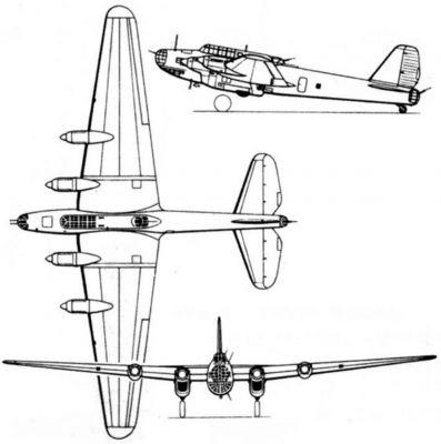 Výkres sovětského těžkého bombardéru Petljakov Pe-8 neboli TB-7