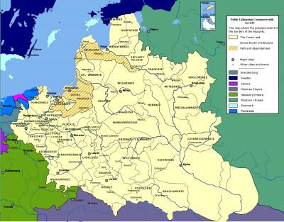 Rozsah Rzeczpospolité v r. 1635