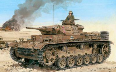 Tank PzKpfw III Ausf. H s kanonem ráže 50 mm v pouštní kamufláži