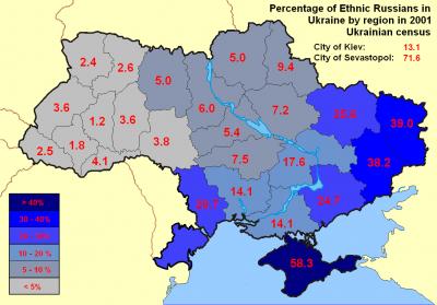 Zastoupení etnických Rusů v jednotlivých oblastech Ukrajiny