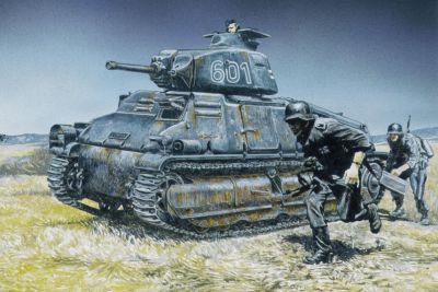 Optimistická kresba útoku tanku SOMUA S35 s podporou pěchoty
