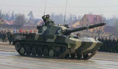 Lehký výsadkový tank 2S25 Sprut-SD, příbuzný obrněnce BMD-3