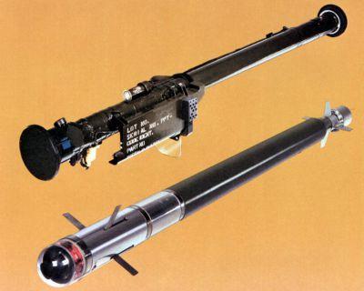 Reklamní zobrazení odpalovacího zařízení a naváděné střely Stinger