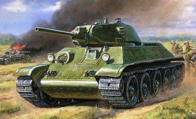 Umělecké ztvárnění útočících středních tanků T-34/76