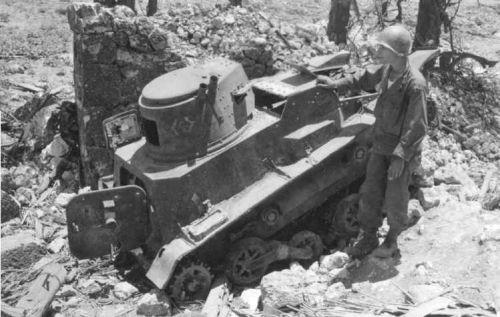 """Tančík Type 94 """"TK"""" ukořištěný za bojů o Okinawu"""