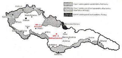 Umístění nových muničních továren, stav po odtržení Sudet.