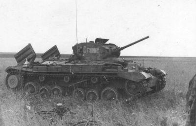 Zničený sovětský pěchotní tank britské výroby Valentine Mk III