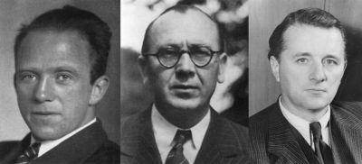 Hlavní vědci, kteří se účastnili nacistického jaderného zbrojního programu; zleva Werner Heisenberg, Kurt Diebner a Paul Harteck