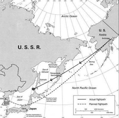 trasa sestřeleném korejském Boeingu 747 1. září 1983 (KAL007)