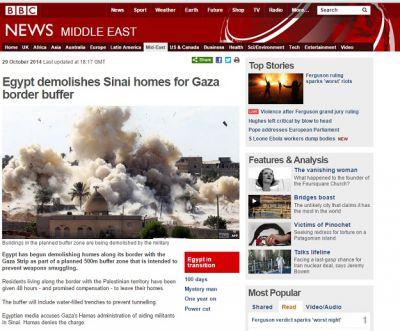 Takto informovala o zřízení zóny a demolicích BBC 29. 10. 2014