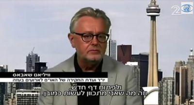 prof. Schabas ve vysílání izraelského programu Channel 2. V pozadí torontská CN Tower