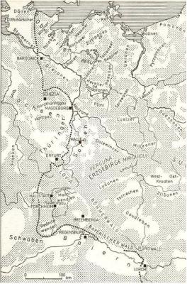 hranice slovanského osídlení severně od Alp