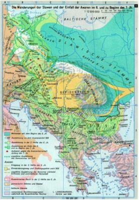 migrace Slovanů a Avarů v 6. a počatkem 7. stol.