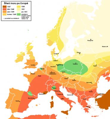Mapa šíření černé smrti po Evropě