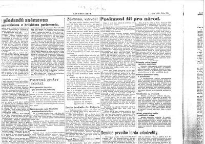 Národní noviny 2. října 1938