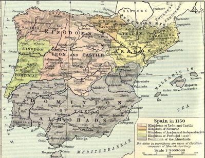 Pyrenejský poloostrov v roce 1150