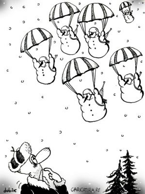 výsadek sněhuláků